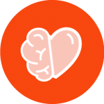 Community Healing icon half heart half brain